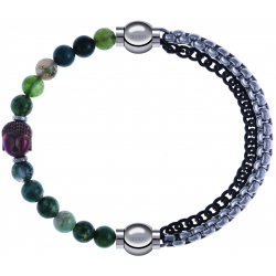Apollon - Collection MiX - bracelet combinable agate verte 6mm - Bouddha - 10cm + chaines 2 tons noir et blancs - 10,25cm