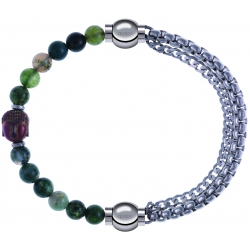 Apollon - Collection MiX - bracelet combinable agate verte 6mm - Bouddha - 10cm + chaines - 10,25cm