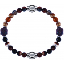 Apollon - Collection MiX - bracelet combinable agate marron 6mm - Bouddha - 10cm + agate marron 6mm - Bouddha - 10cm
