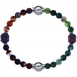 Apollon - Collection MiX - bracelet combinable agate marron 6mm - Bouddha - 10cm + agate verte 6mm - Bouddha - 10cm