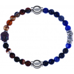 Apollon - Collection MiX - bracelet combinable agate marron 6mm - Bouddha - 10cm + labradorite 6mm - 10cm
