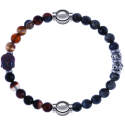 Apollon - Collection MiX - bracelet combinable agate marron 6mm - Bouddha - 10cm + sodalite 6mm - 10cm