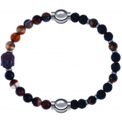 Apollon - Collection MiX - bracelet combinable agate marron 6mm - Bouddha - 10cm + oeil de tigre - pierre de lave 6mm - 10,75cm
