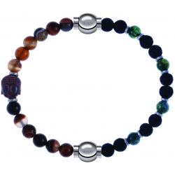 Apollon - Collection MiX - bracelet combinable agate marron 6mm - Bouddha-10cm + agate teintée verte-pierre de lave 6mm-10,75cm