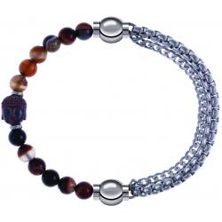 Apollon - Collection MiX - bracelet combinable agate marron 6mm - Bouddha - 10cm + chaines - 10,25cm
