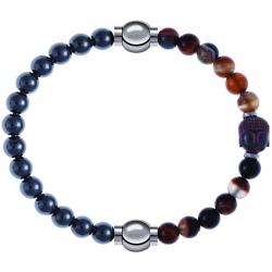 Apollon - Collection MiX - bracelet combinable hématite 6mm - 10,25cm + agate marron 6mm - Bouddha - 10cm