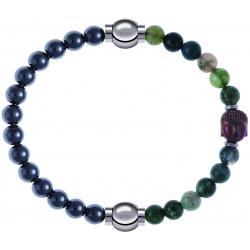 Apollon - Collection MiX - bracelet combinable hématite 6mm - 10,25cm + agate verte 6mm - Bouddha - 10cm