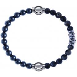 Apollon - Collection MiX - bracelet combinable hématite 6mm - 10,25cm + sodalite 6mm - 10cm