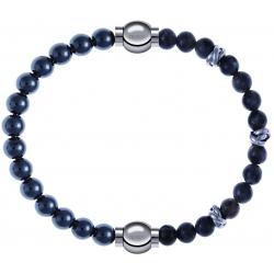 Apollon - Collection MiX - bracelet combinable hématite 6mm - 10,25cm + labradorite 6mm - 10cm