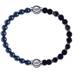 Apollon - Collection MiX - bracelet combinable hématite 6mm - 10,25cm + oeil de tigre - pierre de lave 6mm - 10,75cm