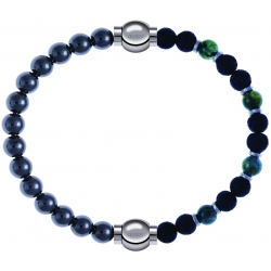 Apollon - Collection MiX - bracelet combinable hématite 6mm - 10,25cm + agate teintée verte - pierre de lave 6mm - 10,75cm