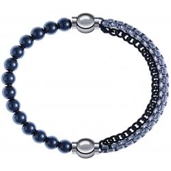 Apollon - Collection MiX - bracelet combinable hématite 6mm - 10,25cm + chaines 2 tons noir et blancs - 10,25cm