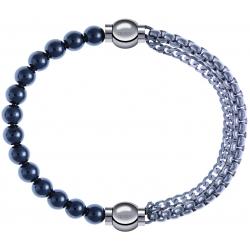 Apollon - Collection MiX - bracelet combinable hématite 6mm - 10,25cm + chaines - 10,25cm