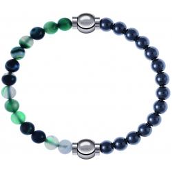 Apollon - Collection MiX - bracelet combinable agate indienne teintée 6mm - 10,25cm + hématite 6mm - 10,25cm