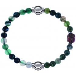 Apollon - Collection MiX - bracelet combinable agate indienne teintée 6mm - 10,25cm + agate verte 6mm - Bouddha - 10cm