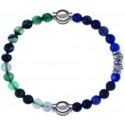 Apollon - Collection MiX - bracelet combinable agate indienne teintée 6mm - 10,25cm + labradorite 6mm - 10cm