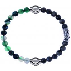 Apollon - Collection MiX - bracelet combinable agate indienne teintée 6mm - 10,25cm + sodalite 6mm - 10cm