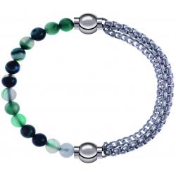 Apollon - Collection MiX - bracelet combinable agate indienne teintée 6mm - 10,25cm + chaines - 10,25cm