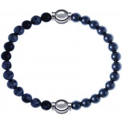 Apollon - Collection MiX - bracelet combinable obsidienne neige 6mm - 10,25cm + hématite 6mm - 10,25cm