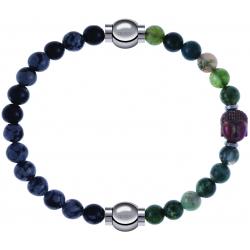 Apollon - Collection MiX - bracelet combinable obsidienne neige 6mm - 10,25cm + agate verte 6mm - Bouddha - 10cm