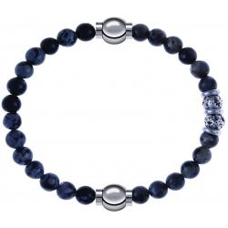 Apollon - Collection MiX - bracelet combinable obsidienne neige 6mm - 10,25cm + sodalite 6mm - 10cm