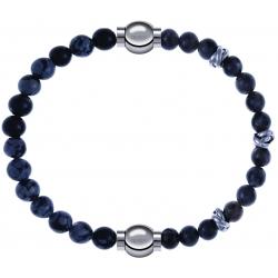 Apollon - Collection MiX - bracelet combinable obsidienne neige 6mm - 10,25cm + labradorite 6mm - 10cm