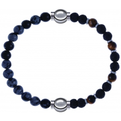 Apollon - Collection MiX - bracelet combinable obsidienne neige 6mm - 10,25cm + oeil de tigre - pierre de lave 6mm - 10,75cm