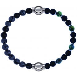 Apollon - Collection MiX - bracelet combinable obsidienne neige 6mm - 10,25cm + agate teintée verte-pierre de lave 6mm-10,75cm