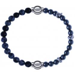 Apollon - Collection MiX - bracelet combinable obsidienne neige 6mm - 10,25cm + hématite 6mm - 10cm