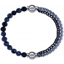 Apollon - Collection MiX - bracelet combinable obsidienne neige 6mm - 10,25cm + chaines 2 tons noir et blancs - 10,25cm