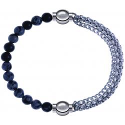 Apollon - Collection MiX - bracelet combinable obsidienne neige 6mm - 10,25cm + chaines - 10,25cm