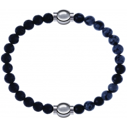 Apollon - Collection MiX - bracelet combinable pierre de lave 6mm - 10,25cm + obsidienne neige 6mm - 10,25cm