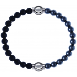 Apollon - Collection MiX - bracelet combinable pierre de lave 6mm - 10,25cm + hématite 6mm - 10,25cm