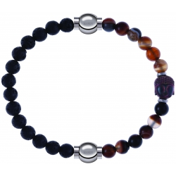 Apollon - Collection MiX - bracelet combinable pierre de lave 6mm - 10,25cm + agate marron 6mm - Bouddha - 10cm