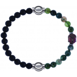Apollon - Collection MiX - bracelet combinable pierre de lave 6mm - 10,25cm + agate verte 6mm - Bouddha - 10cm