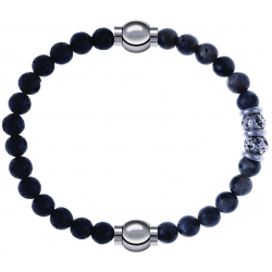 Apollon - Collection MiX - bracelet combinable pierre de lave 6mm - 10,25cm + sodalite 6mm - 10cm