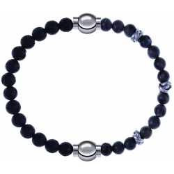 Apollon - Collection MiX - bracelet combinable pierre de lave 6mm - 10,25cm + labradorite 6mm - 10cm