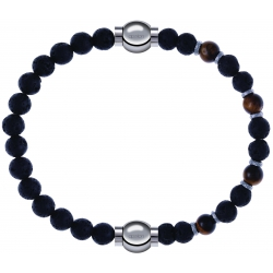 Apollon - Collection MiX - bracelet combinable pierre de lave 6mm - 10,25cm + oeil de tigre - pierre de lave 6mm - 10,75cm