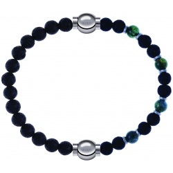 Apollon - Collection MiX - bracelet combinable pierre de lave 6mm - 10,25cm + agate teintée verte - pierre de lave 6mm - 10,75cm