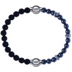 Apollon - Collection MiX - bracelet combinable pierre de lave 6mm - 10,25cm + hématite 6mm - 10cm