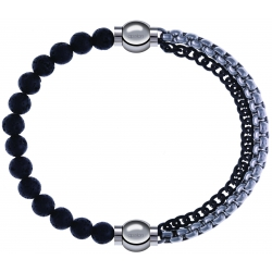 Apollon - Collection MiX - bracelet combinable pierre de lave 6mm - 10,25cm + chaines 2 tons noir et blancs - 10,25cm