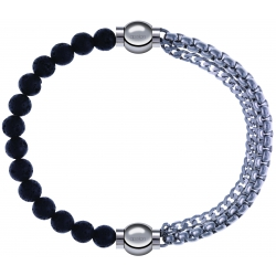 Apollon - Collection MiX - bracelet combinable pierre de lave 6mm - 10,25cm + chaines - 10,25cm