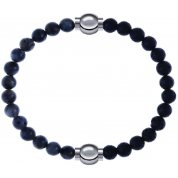 Apollon - Collection MiX - bracelet combinable labradorite 6mm - 10,25cm + pierre de lave 6mm - 10,25cm