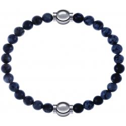 Apollon - Collection MiX - bracelet combinable labradorite 6mm - 10,25cm + obsidienne neige 6mm - 10,25cm