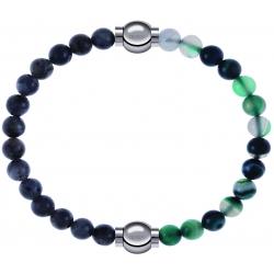 Apollon - Collection MiX - bracelet combinable labradorite 6mm - 10,25cm + agate indienne teintée 6mm - 10,25cm