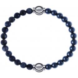 Apollon - Collection MiX - bracelet combinable labradorite 6mm - 10,25cm + hématite 6mm - 10,25cm