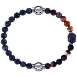 Apollon - Collection MiX - bracelet combinable labradorite 6mm - 10,25cm + agate marron 6mm - Bouddha - 10cm