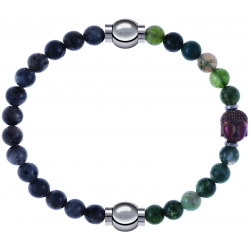 Apollon - Collection MiX - bracelet combinable labradorite 6mm - 10,25cm + agate verte 6mm - Bouddha - 10cm