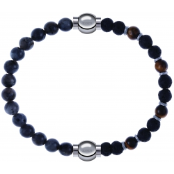 Apollon - Collection MiX - bracelet combinable labradorite 6mm - 10,25cm + oeil de tigre - pierre de lave 6mm - 10,75cm