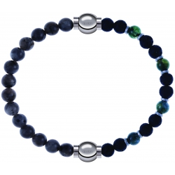 Apollon - Collection MiX - bracelet combinable labradorite 6mm - 10,25cm + agate teintée verte - pierre de lave 6mm - 10,75cm